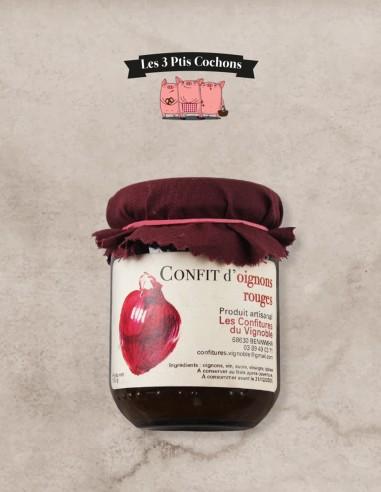 Confit d'Oignons Rouges - 105g - Les 3 ptis cochons