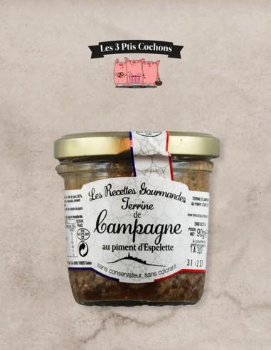Terrine de Campagne au Piment d'Espelette - 90gr - Les 3 ptis cochons