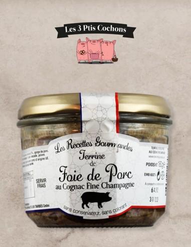 Terrine de Foie au Cognac Fine Champagne - 180gr - Les 3 ptis cochons