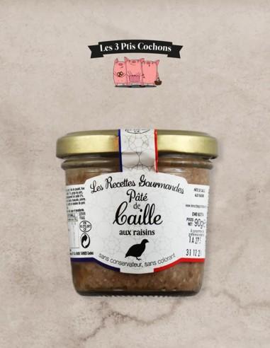Paté de Caille aux Raisins - 90gr - Les 3 ptis cochons