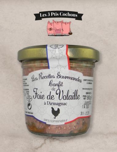 Confit de Foie de Volaille à l'Armagnac - 90g les 3 ptis cochons strasbourg