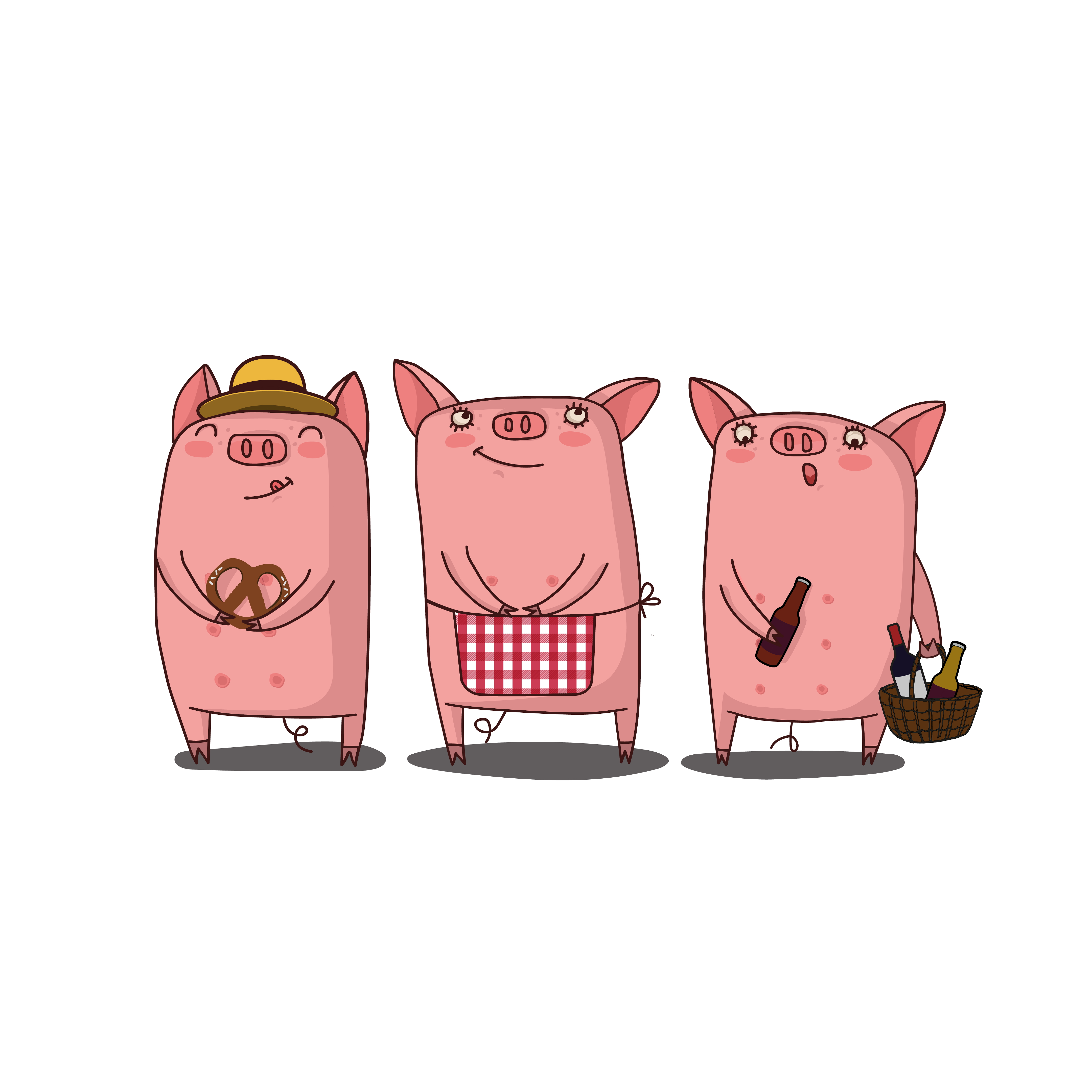 Les3PtisCochons mascottes
