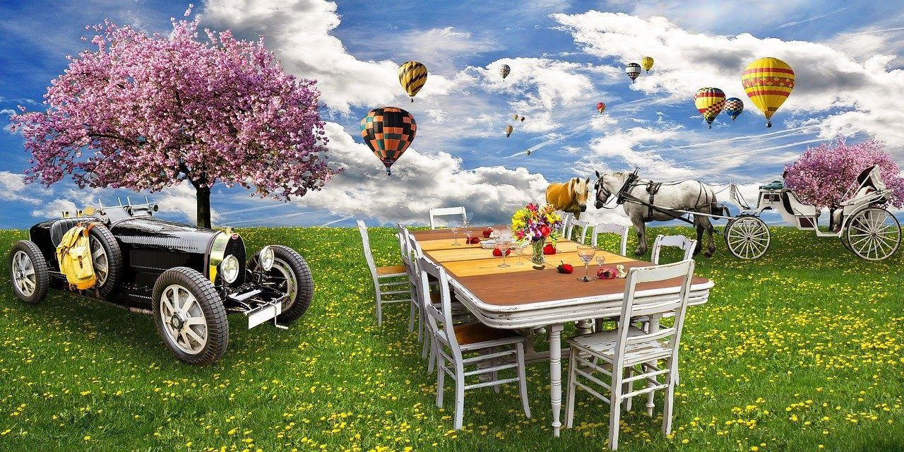 apéritif léger table plein air fleuri